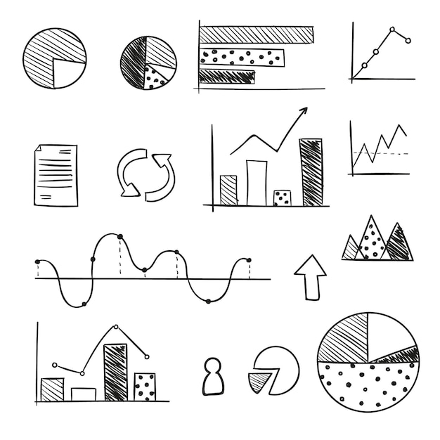 Pack of chart elements Free Vector