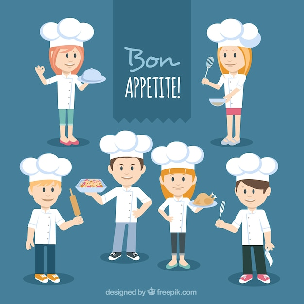 Pack of chef characters Free Vector