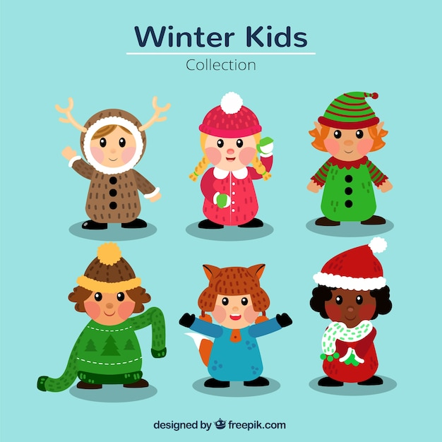 9f972b065 Pack of children with nice winter and christmas clothes Vector ...