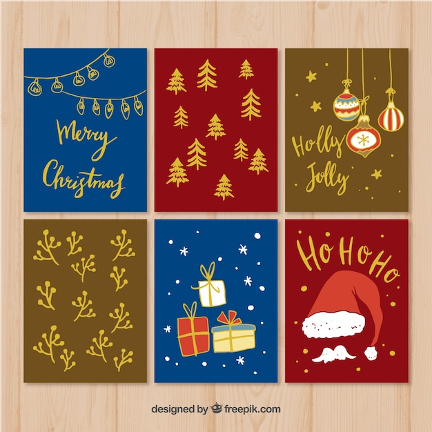 Pack of christmas cards Free Vector