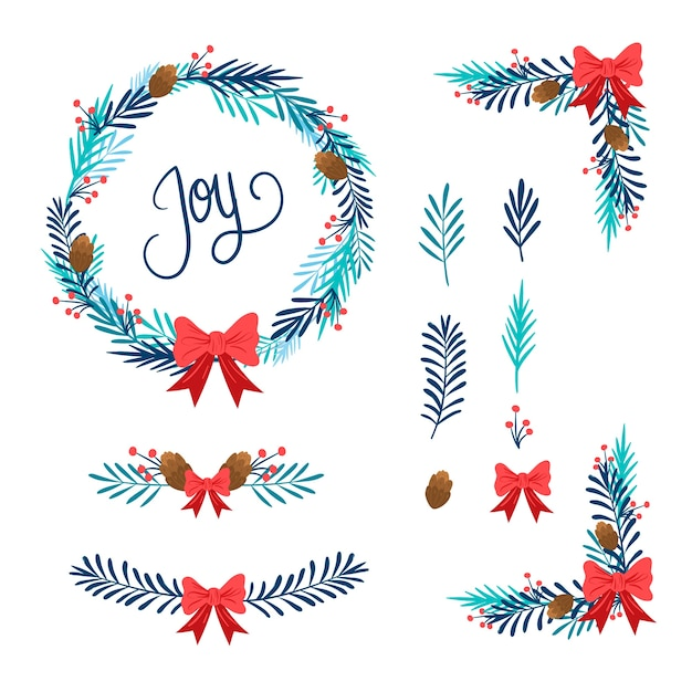 Pack of christmas frames and borders Free Vector