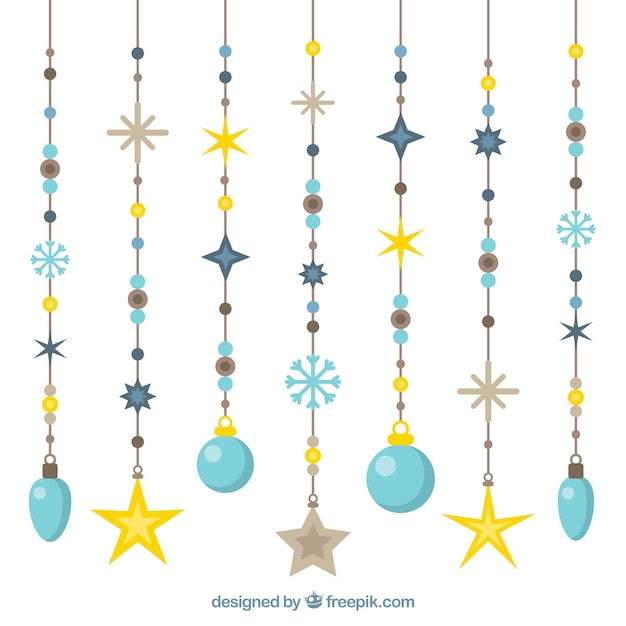 Pack of christmas ornaments in flat design Free Vector