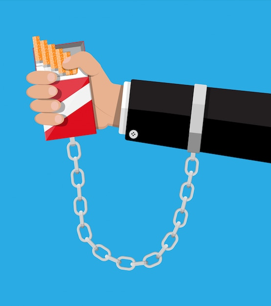 Pack of cigarettes chained to hand shackles Premium Vector