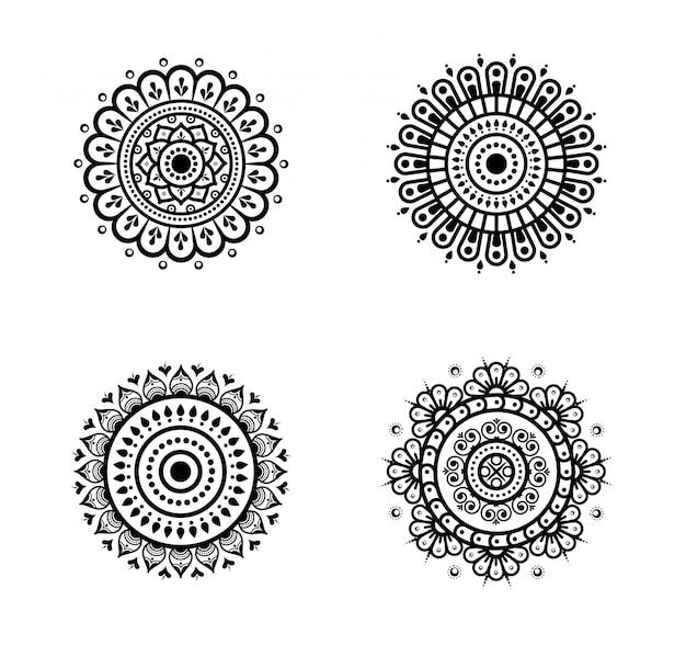 Pack of circular mandalas Premium Vector