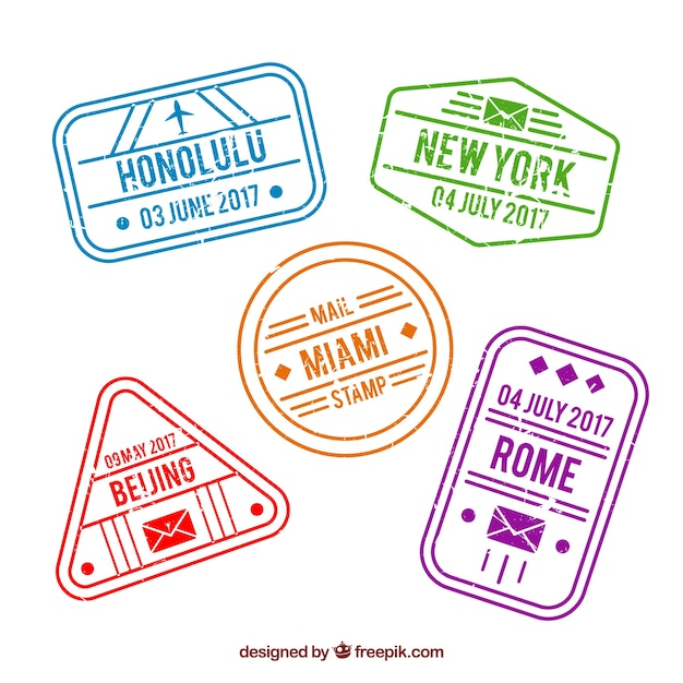 Pack of city stamps in vintage style Free Vector