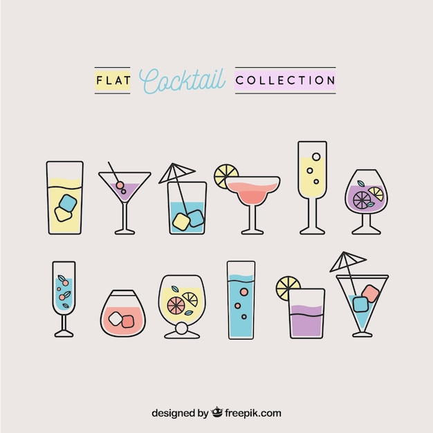 Pack of cocktails in linear design Free Vector