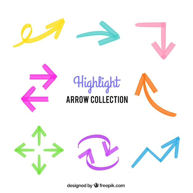 Pack of colored arrows painted with pen Free Vector