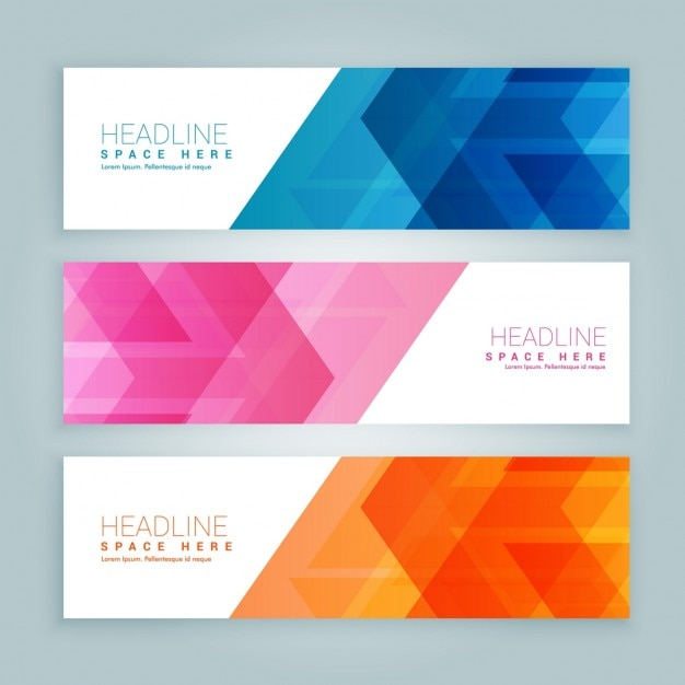 Pack of colored banners with abstract design Free Vector