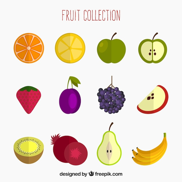 Pack of colored fruits in flat design Free Vector