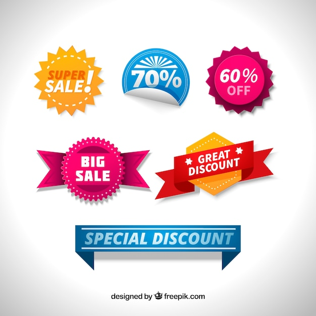 Pack of colored labels with special discounts Free Vector