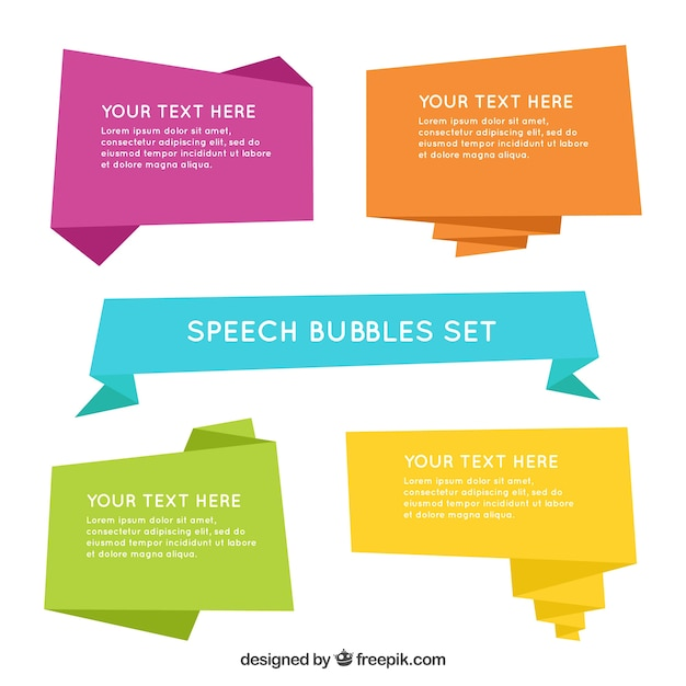 Pack of colored origami speech bubbles Free Vector