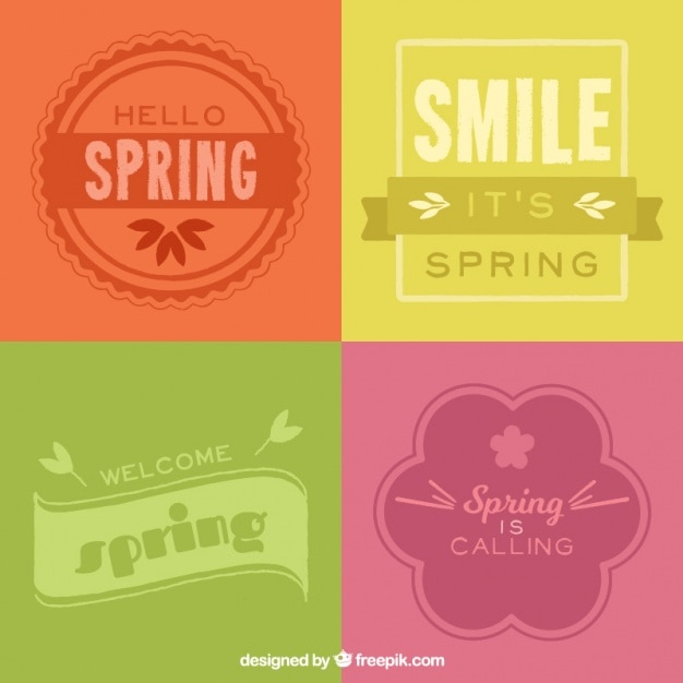Pack of colored spring badges Free Vector