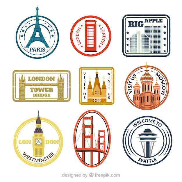 Confezione di francobolli colorati con diverse città Vettore gratuito