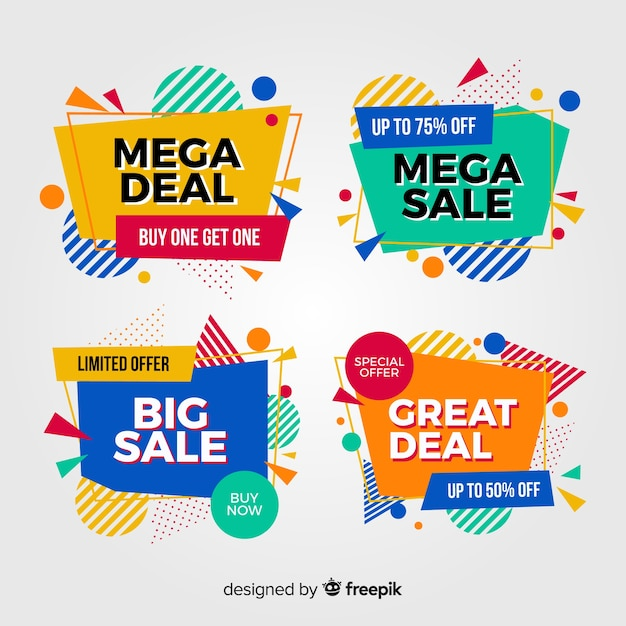 Pack of colorful abstract sale banners Free Vector