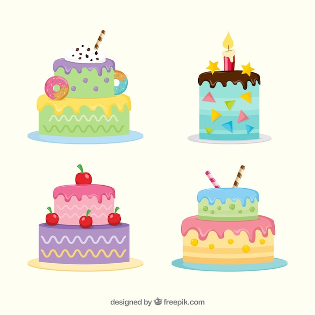 Pack Of Colorful Birthday Cakes Free Vector