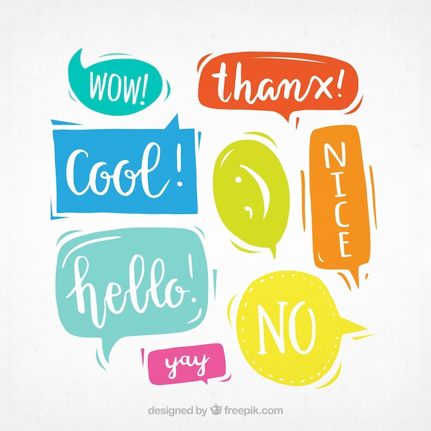 Pack of colorful dialogs with messages Free Vector