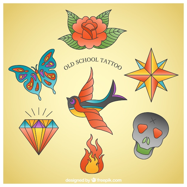 Pack of colorful hand-drawn tattoos Free Vector