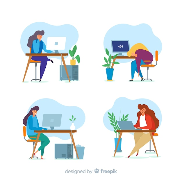 Pack of colorful illustrated programmers working Free Vector