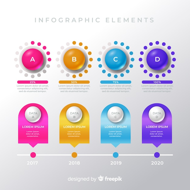 Pack of colorful infographic elements Free Vector