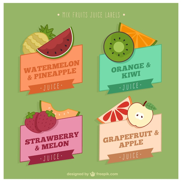 Pack of colorful juice labels Vector | Free Download