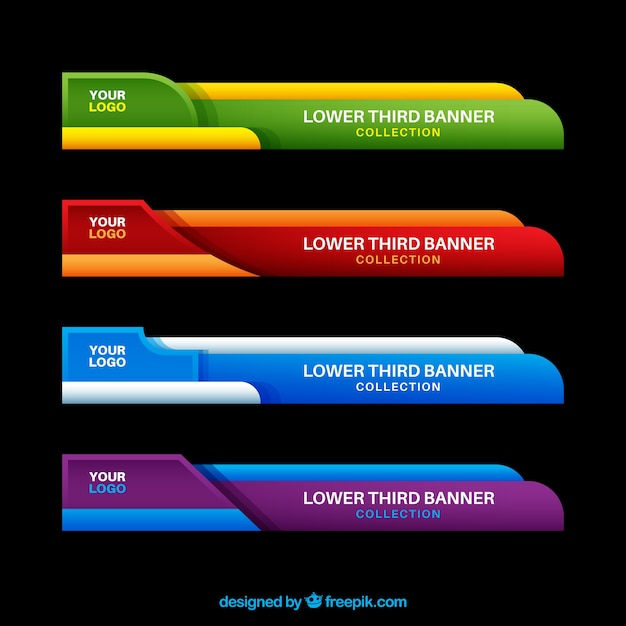 pack of colorful lower thirds in flat design vector