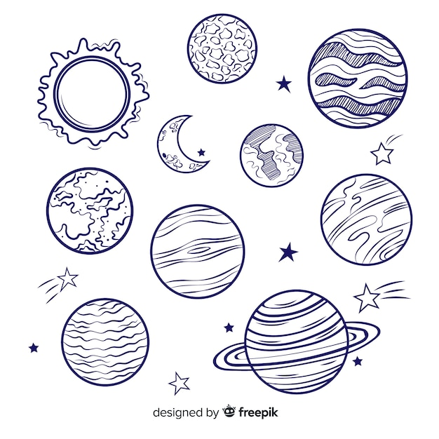 Pack of colorful milky way planets Free Vector