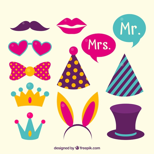 Pack of colorful photo booth accessories Free Vector