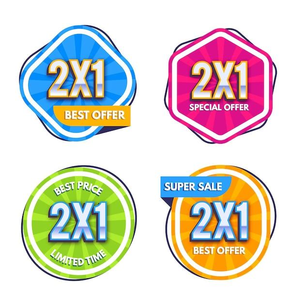 Confezione di etichette promozionali colorate Vettore gratuito