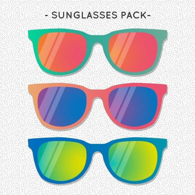 Pack of colorful sunglasses for summer Free Vector