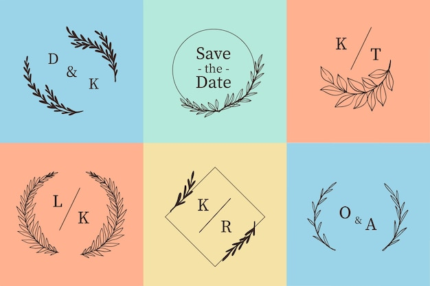 Pack of colorful wedding monograms Free Vector