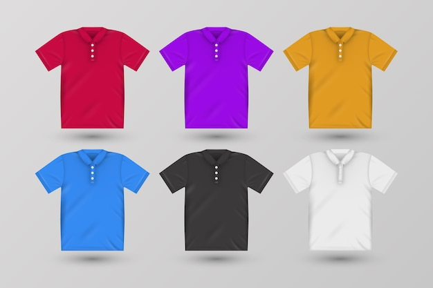 Pack of coloured polo shirts with shadows Free Vector