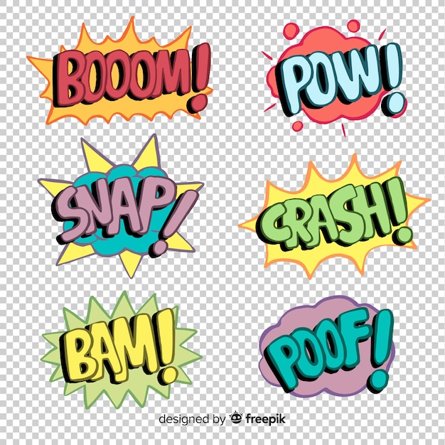 Pack of comic sound effects Vector | Free Download