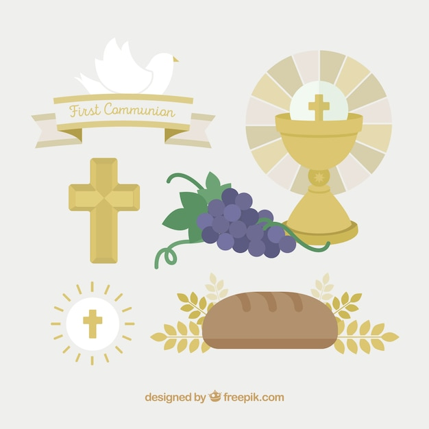 Pack of communion elements in flat design Free Vector