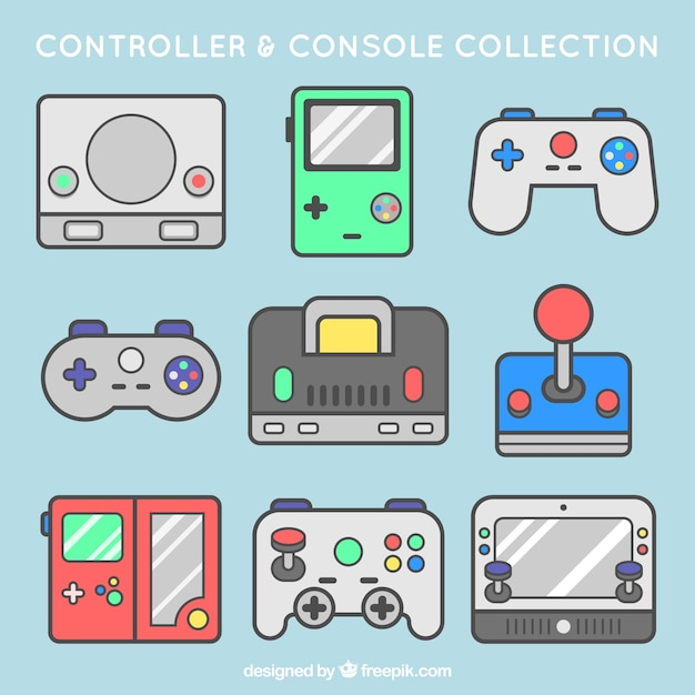 Pack of consoles and controls Free Vector