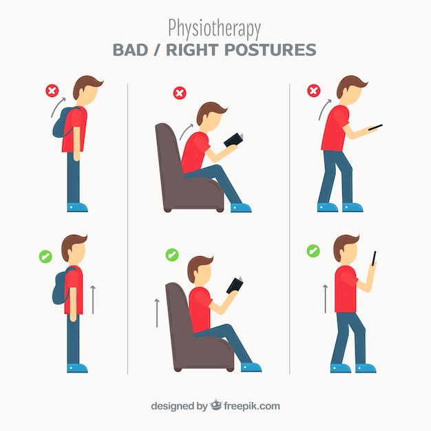 Pack of correct and incorrect postures Free Vector