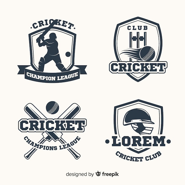 Pack of cricket labels Free Vector
