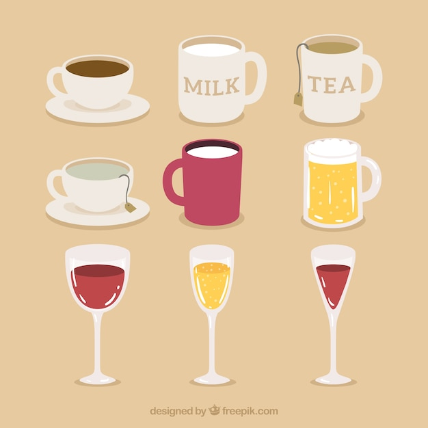 Pack Cups, Mugs and Glasses Free Vector
