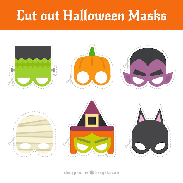 Pack Of Cut Out Halloween Masks Vector | Free Download