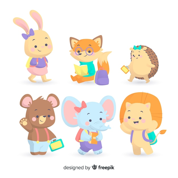Pack of cute animals ready to study Free Vector