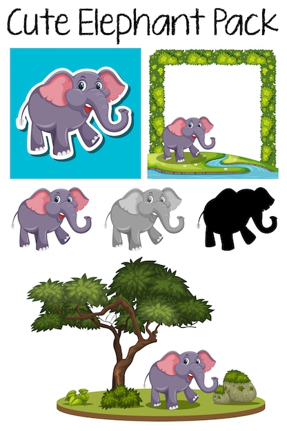 A pack of cute elephant Premium Vector