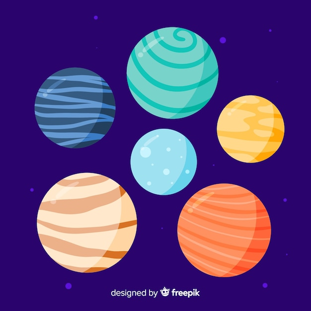 Pack of cute hand drawn planets Free Vector