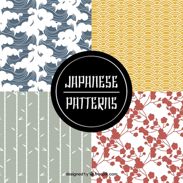 Pack of cute japanese patterns Free Vector