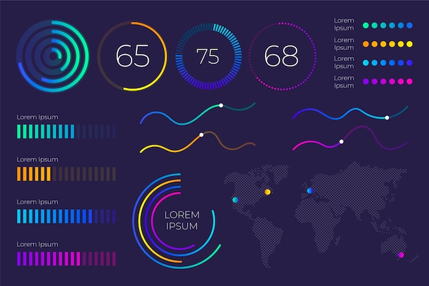 Pack of dashboard elements Free Vector