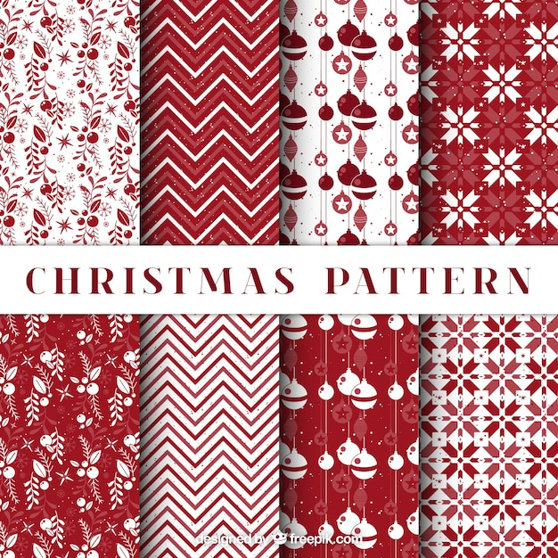 Pack of decorative christmas patterns in red color Free Vector