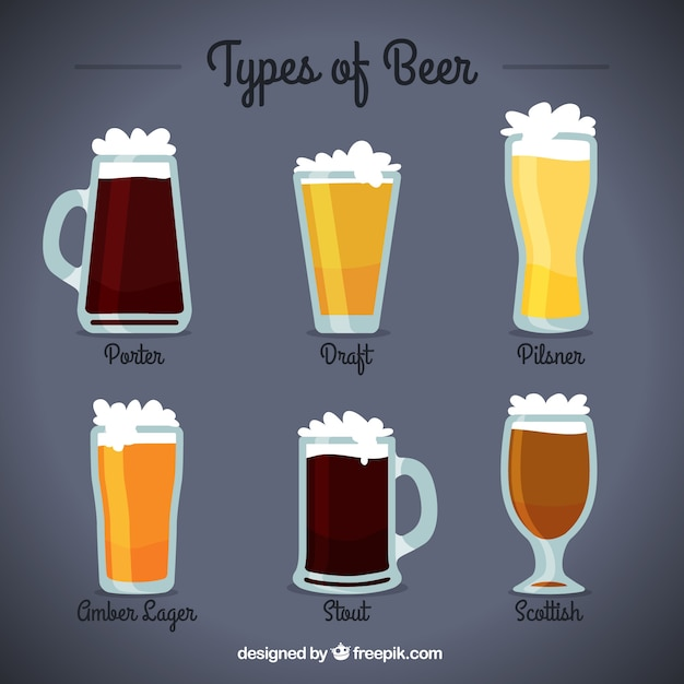 Pack of delicious beers Free Vector