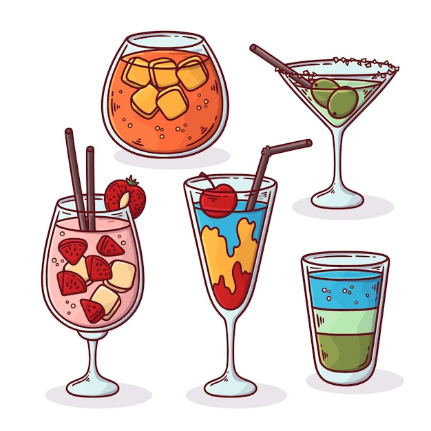 Pack of delicious drawn cocktails Free Vector