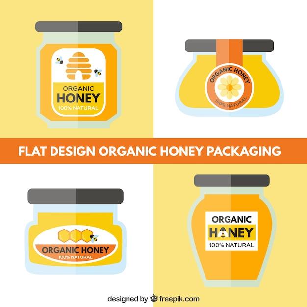 Pack of designs organic honey jars Free Vector