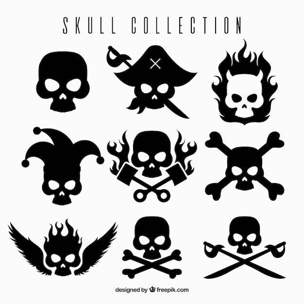 Pack of designs with black skulls Premium Vector