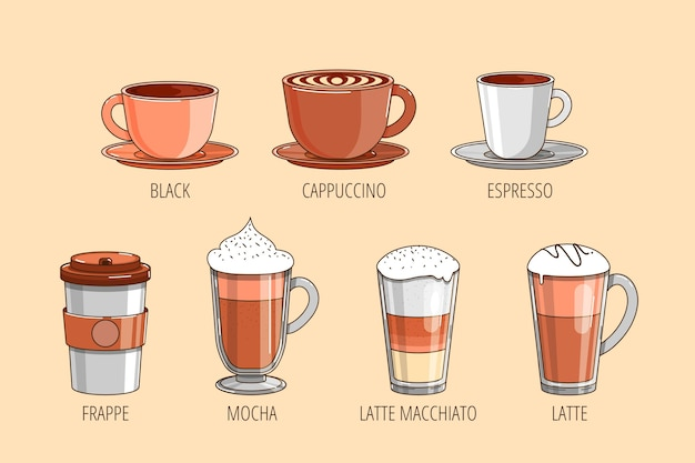 Pack of different coffee types Free Vector