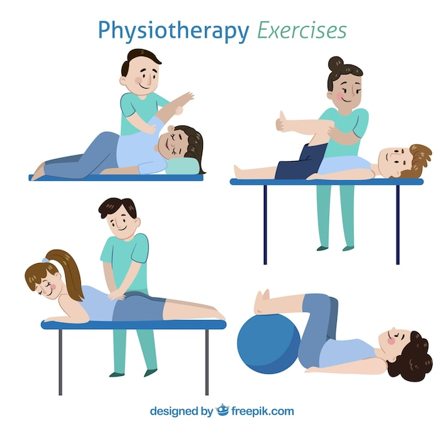 Pack of different kind of physiotherapy exercises Free Vector